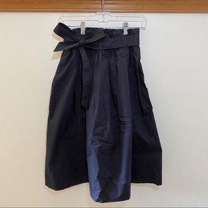 Uniqlo Black Tie Waist Midi Skirt